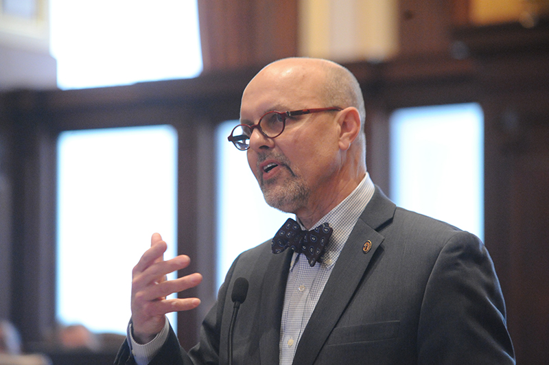 Senator Dave Koehler (D-Peoria) speaks in support of Senate Bill 10, the Religious Freedom and Marriage Fairness Act, during debate Thursday on the Senate floor.