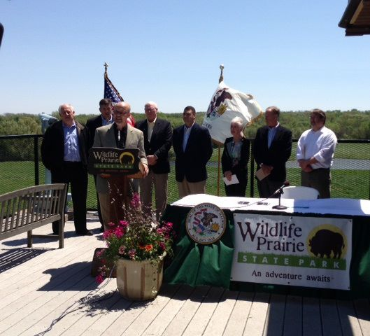 Senator Koehler speaks Saturday at Wildlife Prairie Park after Gov. Pat Quinn signed legislation giving ownership of the park to a Peoria-area non-for-profit group.